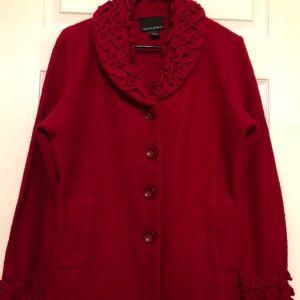 Cynthia Rowley red boiled wool jacket Sz L